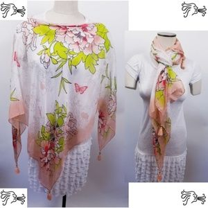 Pink Floral Poncho Scarf Accessory Lightweight